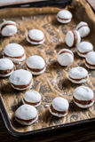 Chocolate macaroons on a baking tray Royalty Free Stock Images