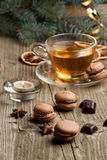 Chocolate macaroons and cup of tea Royalty Free Stock Image