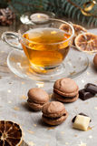 Chocolate macaroons and cup of tea Royalty Free Stock Images