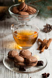 Chocolate macaroons and cup of tea Royalty Free Stock Photo