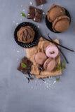 Chocolate macaroons with ice cream Royalty Free Stock Photos