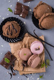 Chocolate macaroons with ice cream Stock Images