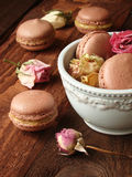 Chocolate macaroons with lemon curd Stock Images