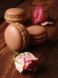 Chocolate macaroons with lemon curd Royalty Free Stock Photo