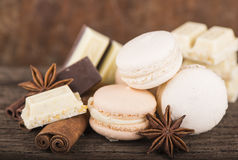 Chocolate macaroons with pieces of white and black chocolate Stock Image