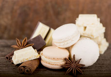 Chocolate macaroons with pieces of white and black chocolate Stock Photography