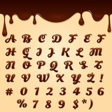 Chocolate made text. Chocolate made vector text. Shaped brown dessert gel font, latin flowing melted liquid text Royalty Free Stock Photos
