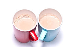 Chocolate malt in the colorful cup on white background Royalty Free Stock Image