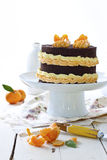 Chocolate and mandarin cake. Rustic country setting royalty free stock photography