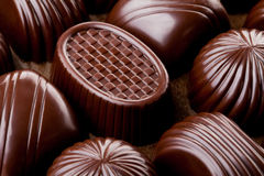 Chocolate marrom do close up imagem de stock