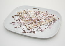 Chocolate and marshmallow crepe Royalty Free Stock Images