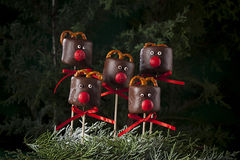 Chocolate marshmallow deers for Christmas Royalty Free Stock Image