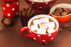 Chocolate with marshmallow Stock Photo