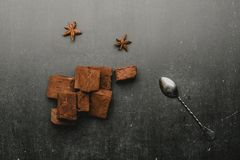 chocolate marshmallows with spices stock image