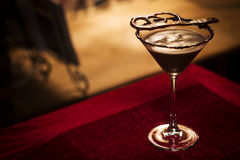 Chocolate martini cocktail drink in bar Royalty Free Stock Photos
