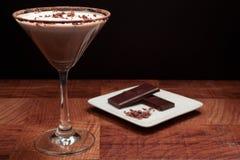 Chocolate martini Garnish. Ed with chocolate power rim and chocolate shavings on cream Stock Photography