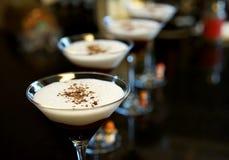 Chocolate martinis with chocolate sprinkles on top royalty free stock photos