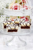Chocolate and marzipan layer cakes Stock Photography