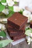 Chocolate mascarpone brownies Royalty Free Stock Photo