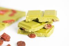 Chocolate matcha green tea with godji berries Stock Photos