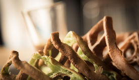 Chocolate and Matcha waffle   closeup focused on waffle  on vint Stock Photo