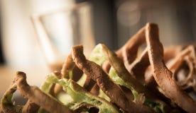 Chocolate and Matcha waffle   closeup focused on waffle  on vint Stock Photo