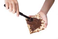 Chocolate on Matzah Royalty Free Stock Photos