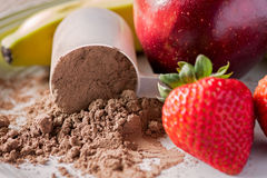 Chocolate meal replacement powder with fruit stock photography