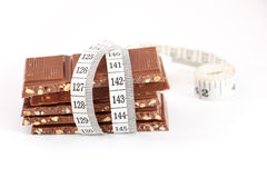 Chocolate and measuring type, isolated on white Stock Image