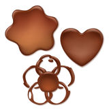 Chocolate melt blot set - heart, wave, flower Royalty Free Stock Photos