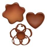 Chocolate melt blot set - heart, wave, flower. Chocolate melt blot splash stain set - heart, wave, flower forms Royalty Free Stock Photos