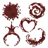 Chocolate melt blot set - spiral round and abstract curves. Chocolate melt blot splash stain set. Spiral, round, heart, crown and abstract curves forms stock illustration