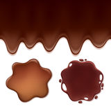 Chocolate melt set -blots and flowing drips. Stock Photo