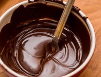 Chocolate melting in bowl. Chocolate melting in mixing bowl Royalty Free Stock Photography
