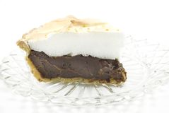 Chocolate Meringue Pie on White Background Stock Photography