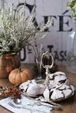 Chocolate meringues on vintage silver tray against heather background stock photos