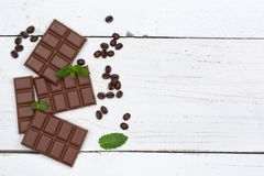 Chocolate milk chocolates bar food sweets copyspace top view Stock Photo