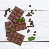 Chocolate milk chocolates bar food sweets square copyspace top v Royalty Free Stock Photography