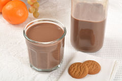 Chocolate milk and cookies Stock Images
