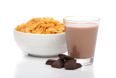 Chocolate milk and cornflakes. Over white background Stock Photography