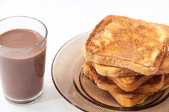 Chocolate milk and french toast arranged on a plate Royalty Free Stock Photography