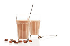 Chocolate milk in front of other chocolate milk Stock Image