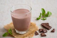 Chocolate milk in glass Stock Photos