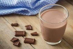 Chocolate milk in glass Royalty Free Stock Photography