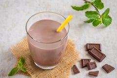 Chocolate milk in glass Stock Image