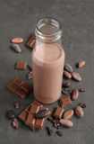 Chocolate milk in a glass bottle with pieces of chocolate bar and cacao beans Royalty Free Stock Photos