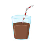 Chocolate milk glass illustration. Glass of chocolate milk with straw illustration Royalty Free Stock Images