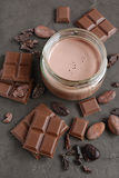 Chocolate milk with pieces of chocolate bar and cacao beans Stock Photo
