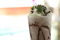 Chocolate milk shake. In close up stock photos