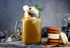 Chocolate milk shake with biscuits Royalty Free Stock Photos